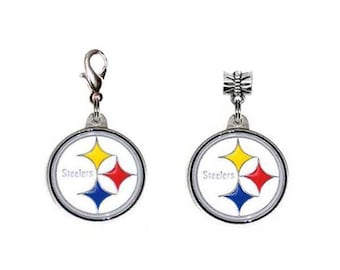 b18e73a9f57 NFL Pittsburgh Steelers Logo Traditional Lobster Claw Charm   European  Pandora Style Charms. Both made with Authentic Licensed Charms.