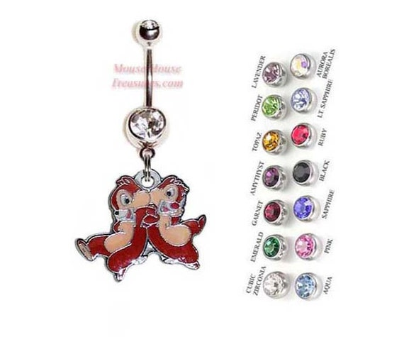New Double Sided Disney World Tinkerbell Key Charm dangling on Belly Navel Bar