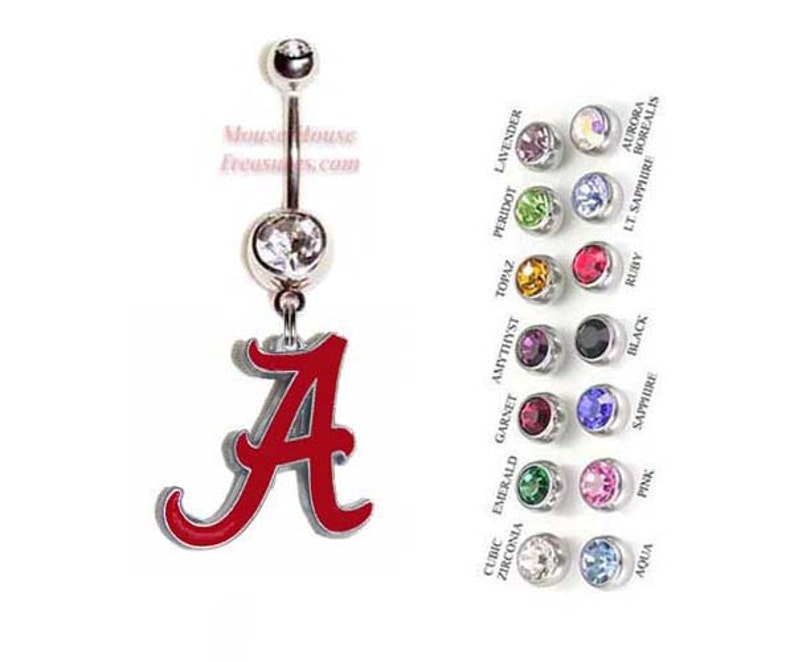 NCAA Alabama Crimson Tide Logo Belly Ring  Authentic Charm on Your Choice  of Gem Colors! Quality at a reasonable price!