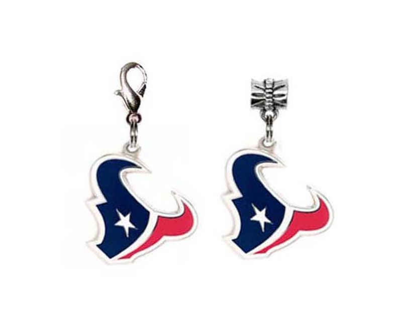 5399034a NFL Houston Texans Logo Traditional Lobster Claw Charm & European Pandora  Style Charms. Both made with Authentic Licensed Charms.