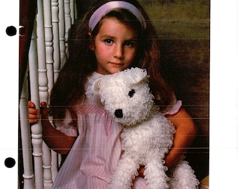 """Woolly Dog Toy Animal - Loop Stitched - Approx 15"""" Tall - Vintage - Crochet Pattern Only - PDF - Digital Delivery"""