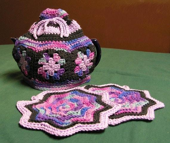 Granny Square Tea Cozy And Round Ripple Potholder Crochet Etsy