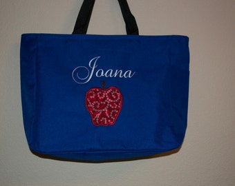 dddf6d20692 Custom Embroidered Tote Bag with Apple