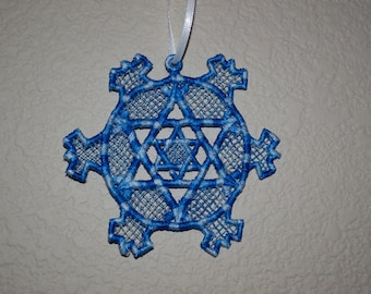Lace Hanukkah Snowflake Ornament