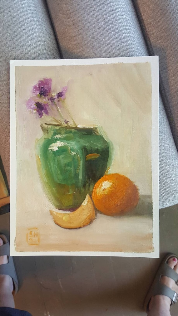 Oil Painting Study Green Vase With Flowers And Oranges Loose Etsy