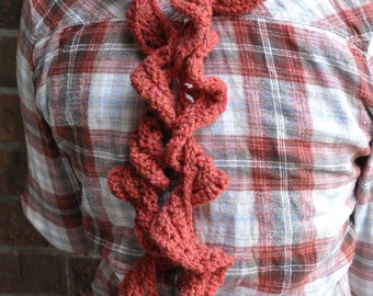 Red Ruffled Scarf for Women