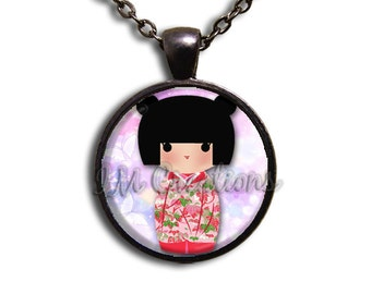 Kokeshi Doll pinks purples Glass Dome Pendant or with Chain Link Necklace  SM121