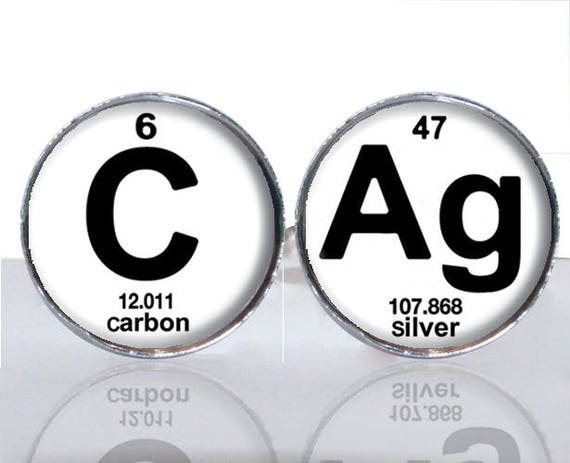 Periodic Table Science Cag Carbon Silver Round Glass Tile Cuff