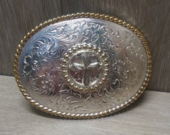 Men Women Silver Metal Belt Buckle Bling Cross Western Mother Maria Church Jesus