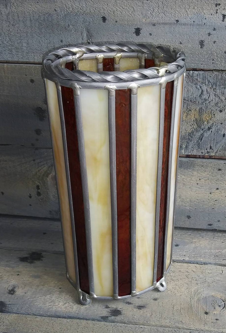 Beautiful Vintage Stained Glass Luminary Candle Holder image 0