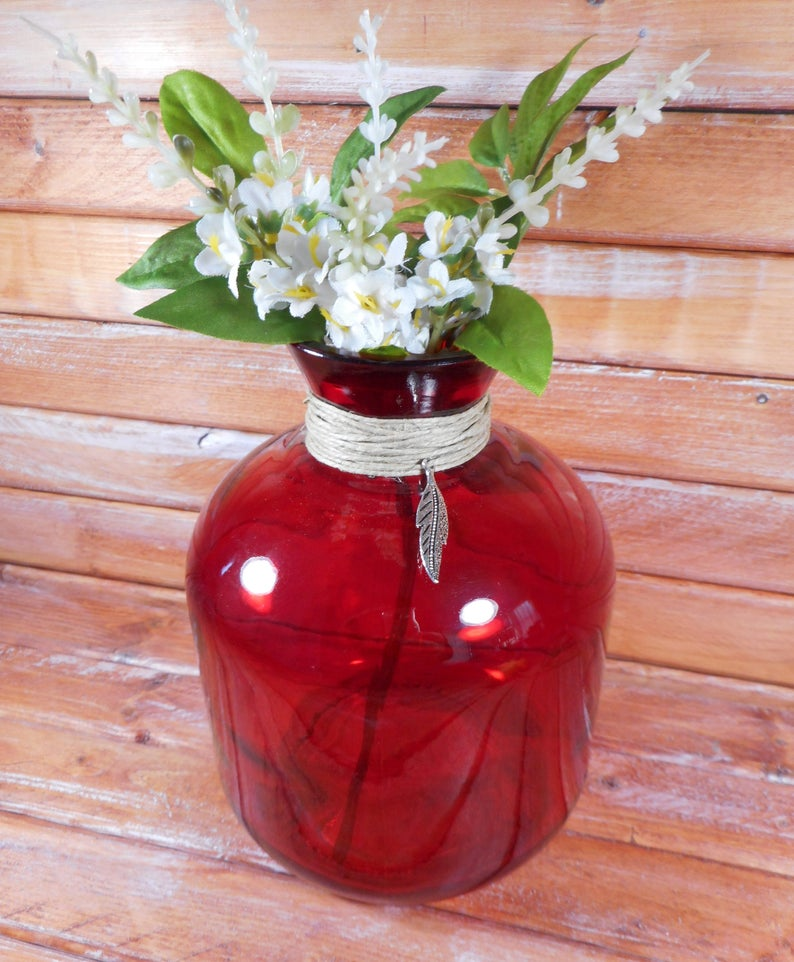 Other Art Glass Beautiful Red Glass Vase