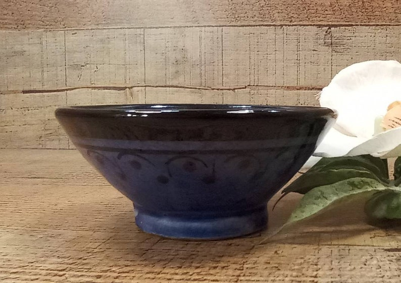 Small old Hand Painted Pottery Bowl Native Pottery Bowl Ring Dish