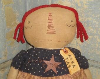 Raggedy Ann | Primitive Cloth Doll | Americana Cloth Doll | Old Glory Doll