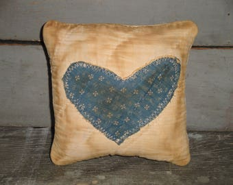 SMALL Old Blue Calico Heart Quilt Pillow | Vintage Quilt Pillow | Antique Quilt Pillow | Primitive Pillow | Cupboard Tuck | Shelf Sitter