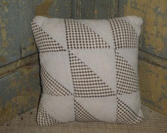 SMALL Vintage Quilt Pillow | Antique Quilt Pillow | Old Quilt Pillow | Primitive Pillow | Cupboard Tuck | Shelf Sitter | Small Quilt Pillow