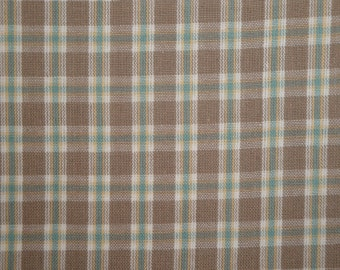 Plaid Cotton Homespun Fabric | Apparel Rag Quilt Home Decor Craft Sewing Fabric | Taupe Multi Color Rustic Country Plaid Woven Cotton Fabric