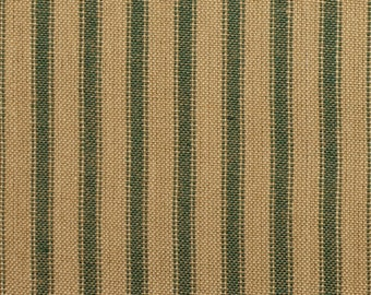 Green Stripe Fabric | Homespun Ticking Fabric | Green And Tea Dye Stripe Ticking Fabric | Primitive Woven Cotton Home Decor Fabric