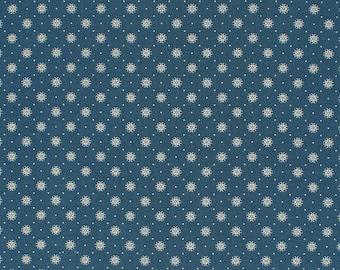 Blue Remember When 1800s Civil War Reproduction Cotton Fabric | Primitive Old Antique Vintage Look Quilt Apparel Home Decor Sewing Fabric