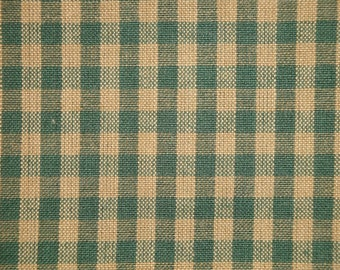 Medium Check Green And Tea Dye Primitive Woven Cotton Homespun Fabric | Cabin Farmhouse Quilt Curtain Sewing Home Decor Apparel Fabric