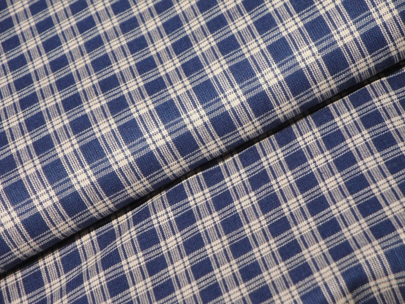 Navy Blue And Natural Basic Plaid Woven Cotton Primitive Homespun Fabric FLAWED REMNANT 39 x 44 Rustic Country Home Decor Sewing Fabric