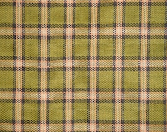 Homespun Fabric | Plaid Fabric | Primitive Cotton Fabric | Quilt Fabric | Cotton Sewing Fabric | DARK Green, Black  Brown Large Plaid Fabric
