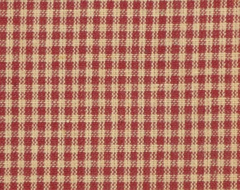 Wine Small Check Homespun Fabric | Rag Quilt Sewing Crafting Fabric Doll Making Fabric | Primitive Country Rustic Cotton Woven Sewing Fabric