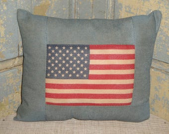 SMALL Flag Pillow | Pillow With Flag | Americana Pillow | American Flag Pillow | Primitive Flag Pillow | Patriotic Pillow