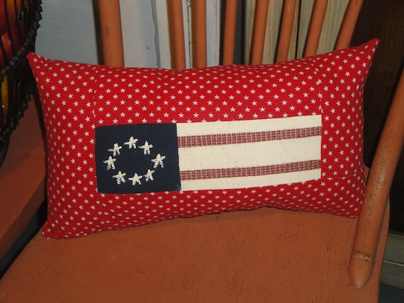"""OLD GLORY AMERICAN FLAG QUILT BLOCK 16/"""" X 16/"""" ACCENT THROW PILLOW TEA DYED"""