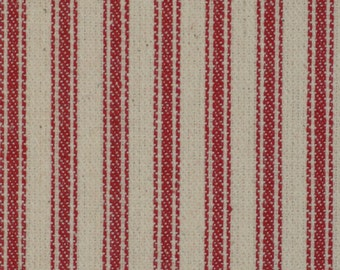 Red Twill Ticking Material | Red Striped Material | Woven Striped Material | Vintage Inspired Ticking | Red Cotton Stripe Ticking Material