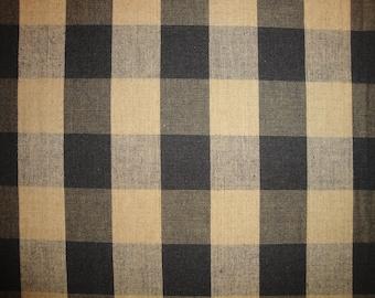 Buffalo Check Fabric | Black And Tea Dye Buffalo Check Homespun Fabric | Farmhouse Cabin Rustic Check Fabric | Cotton Home Decor Fabric