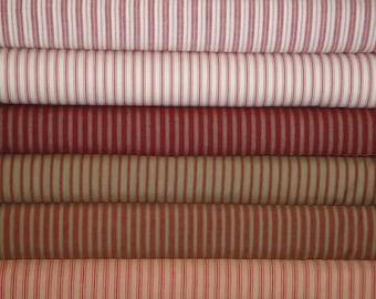 Red Ticking Fabric | Red Stripe Homespun Fabric | Cotton Twill Ticking Fabric | Ticking Fat Quarters | Fat Quarter Bundle Of 6