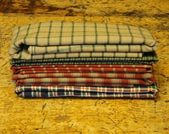 Green Red Blue Scrap Fabric Bundle | Woven Cotton Fabric | Plaid Check Window Pane Sewing Craft Quilt Apparel DIY Home Decor Fabric Remnants