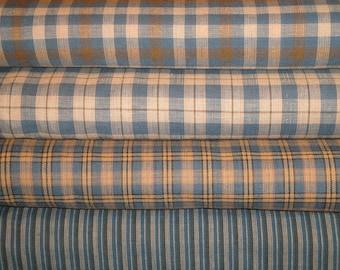 Homespun Fabric Fat Quarter Bundle Blue, Natural & Khaki