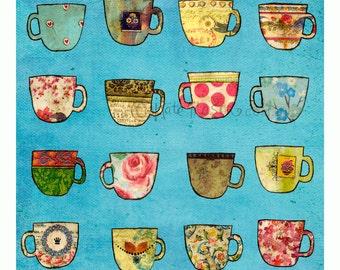 Messy Tea Cups ART PRINT