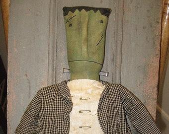 Frankenstein EPATTERN -primitive country halloween cloth doll craft digital download sewing pattern - PDF - 1.99