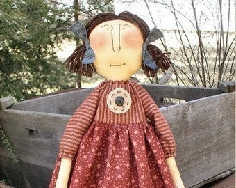 Ginnie EPATTERN - primitive country cloth doll craft digital download sewing pattern - PDF - 1.99