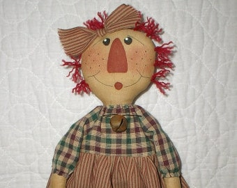 Annie w/ Stocking EPATTERN - primitive country christmas raggedy cloth doll craft digital download sewing pattern - PDF - 1.99