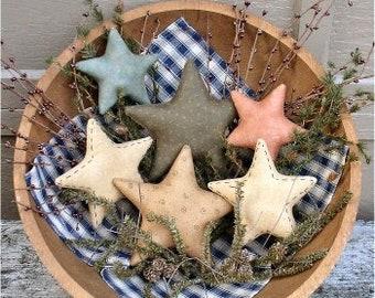 Primitive Stars EPATTERN...primitive country crafts bowl filler cloth ornament digital download sewing pattern...PDF...1.99