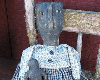 Mable EPATTERN-primitive country black cloth doll craft digital download sewing pattern-PDF-1.99