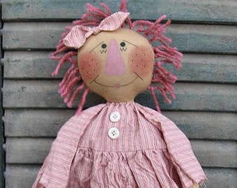 Pinkie Ann EPATTERN - primitive country raggedy cloth doll crafts digital download sewing pattern  - PDF - 1.99