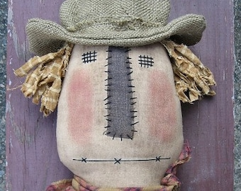 Scarecrow Sitter EPATTERN - primitive country halloween fall cloth doll craft digital download sewing pattern - 1.99 - PDF