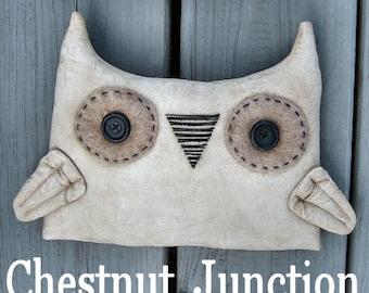 White Owls EPATTERN...primitive halloween autumn fall cloth doll decoration ornament craft digital download sewing PATTERN...PDF
