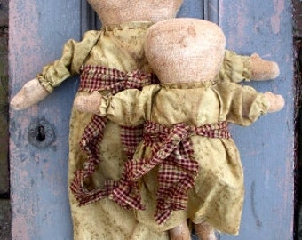 Mary & Jane EPATTERN...primitive country cloth doll craft digital download sewing pattern...PDF...1.99