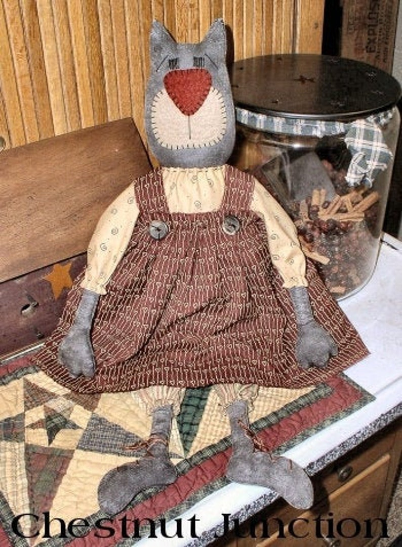 PDF Lucille Cat EPATTERN...primitive country cloth doll craft digital download sewing pattern 1.99