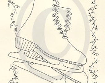 Christmas Skates EPATTERN...stitchery embroidery country primitive craft digital download sewing pattern...PDF...1.99