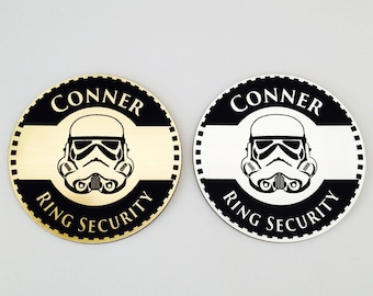 Ring Security, Ring Bearer Gift, Ring Bearer Security Badge, Personalized Ring Bearer Badge, Wedding Gift, 3 Designs