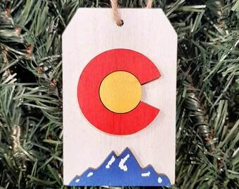 Christmas Tree Ornament, Colorado Flag, White Tag