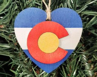 Christmas Tree Ornament, Colorado Flag, Flag Heart Design