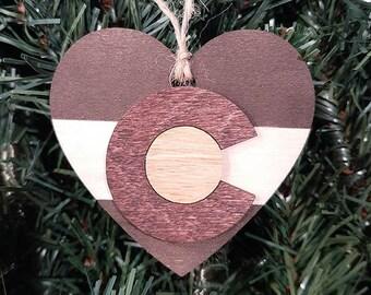 Christmas Tree Ornament, Colorado Flag, Heart Ornament