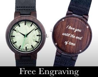 Wood Watch, Engraved Watch, Wooden Watch, Engraved Wood Watch, Green Face, Personalized Gift, Gifts For Him, Christmas